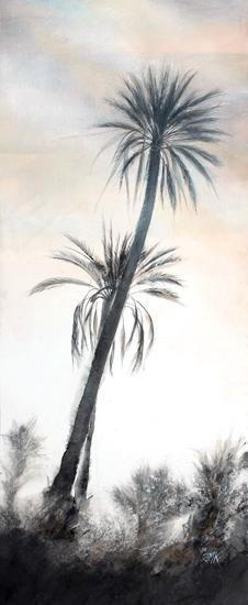 Déclin du jour, deux palmiers